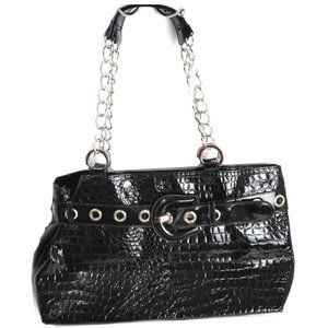 Handbags - Black Patent Leather Croc Chain Tote Bag Large